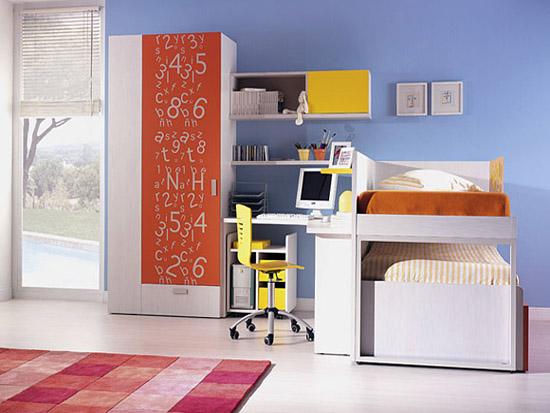 Color juvenil en un dormitorio juvenil