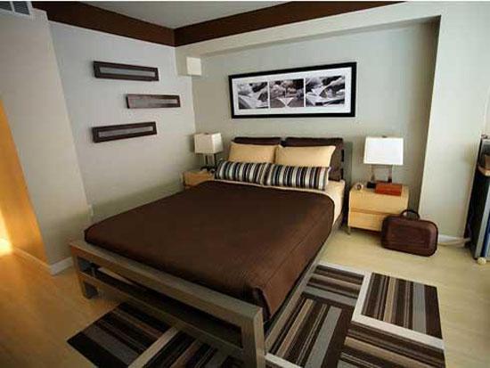 Dormitorio con terminaciones en colores ocre